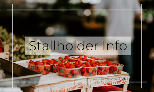Stallholder info button with image of strawberries Canberra